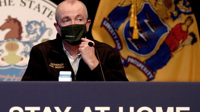New Jersey Governor Phil Murphy during a May 8, 2020, press conference at War Memorial in Trenton, NJ, on the State's response to the coronavirus pandemic.