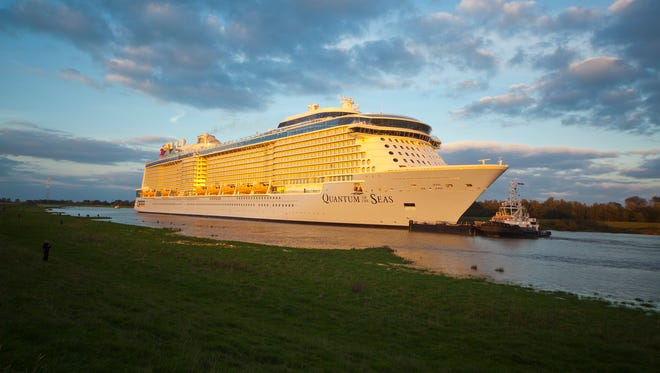 Royal Caribbean's new Quantum of the Seas departing the Meyer Werft shipyard in Germany.