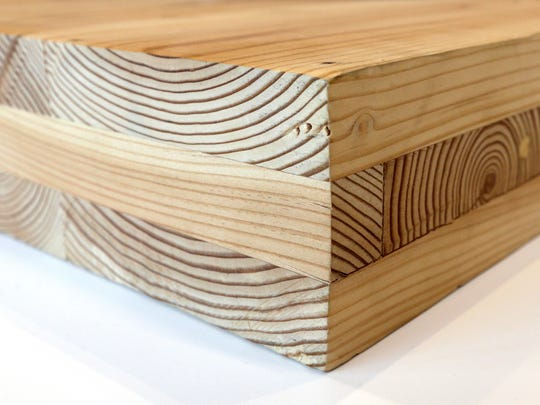 A piece of cross-laminated timber, or CLT.