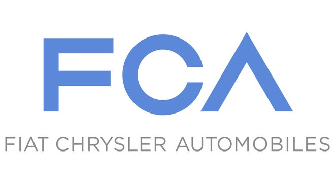 New logo of Fiat Chrysler Automobiles, the combination of Fiat and Chrysler, which Fiat owns 100%..