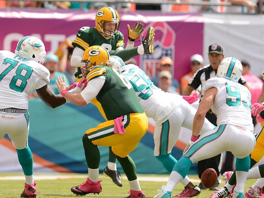 A blown block on the line helped the Miami Dolphins