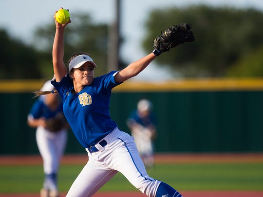 San Diego's Miranda Buentello pitches against Santa Gertrudis Academy in the Class 3A regional softball final on Friday, May 25, 2018, at Cabaniss Field.