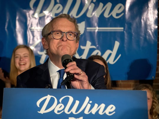 Republican gubernatorial candidate Mike DeWine addresses