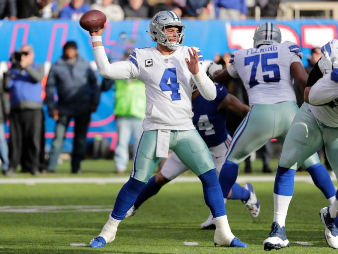 Dallas Cowboys quarterback Dak Prescott looks to pass