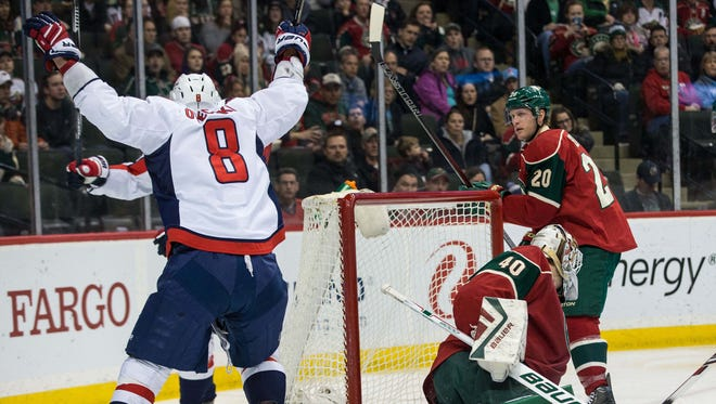 Washington Capitals forward Alex Ovechkin (8) celebrates his goal during the second period against the Minnesota Wild at Xcel Energy Center.
