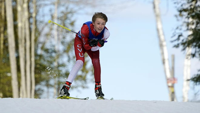 CVU's Jared Leonard competes in the boys 5K freestyle during the second day of the Vermont state Nordic championships at Craftsbury Outdoor Center on Monday.