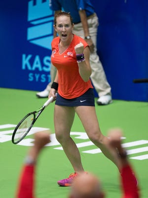 Madison Brengle celebrates a point while playing World TeamTennis for the Washington Kastles earlier this month.