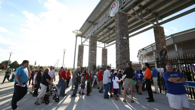 Fans outside Provident Bank Park in Ramapo on Opening Day 2013.