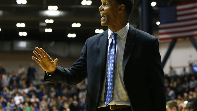 Monmouth Hawks head coach King Rice callout a play during the second half against Manhattan Jaspers at Monmouth University.  Monmouth Hawks defeated Manhattan Jaspers 79-71. West Long Branch,NJ. Monday, February 15, 2016. Noah K. Murray/CORRESPONDENT ASB 0216 Monmouth Basketball