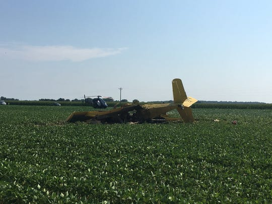 A crop duster crashed Wednesday morning southwest of Sandtown, police said.