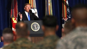President Donald Trump speaks at Fort Myer in Virginia on Monday about a strategy he believes will best position the U.S. to eventually declare victory in Afghanistan.