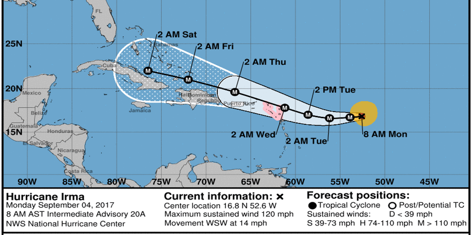 Hurricane Irma winds at 120 mph; Florida will see some impact