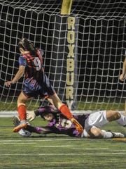 Morris Knolls goalkeeper Madison Somogyi makes another