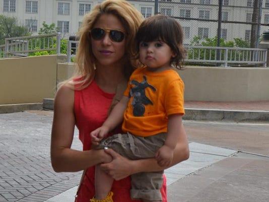 Shakira with her eldest son Milan