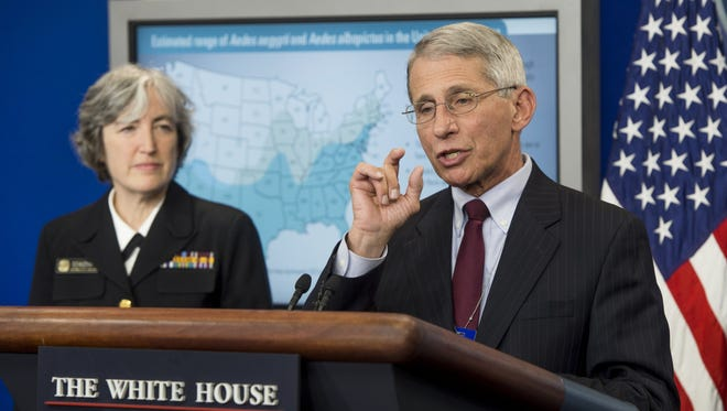 Dr. Anne Schuchat, principal deputy director of the Centers for Disease Control and Prevention, and Dr. Anthony Fauci, director of the National Institute of Allergy and Infectious Diseases, speak about the Zika virus during a press briefing in the Brady Press Briefing Room at the White House on April 11, 2016.