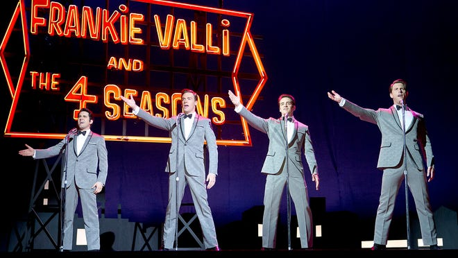 "John Lloyd Young as Frankie Valli, Erich Bergen as Bob Gaudio, Vincent Piazza as Tommy DeVito and Michael Lomenda as Nick Massi in ""Jersey Boys."""
