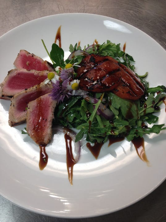 Grilled watermelon salad with grilled tuna made by Chef Shawn Calley ...