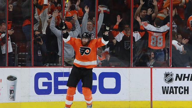 Jake Voracek survived a big open-ice hit and won the game with a shootout goal.