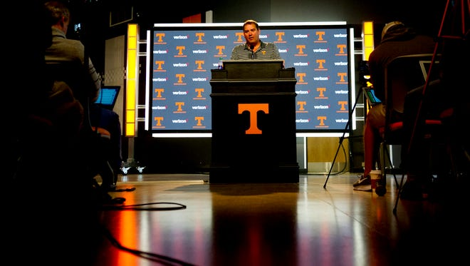 Tennessee interim coach Brady Hoke speaks with the media Wednesday ahead of the LSU game.