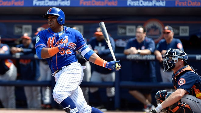 New York Mets outfielder Yoenis Cespedes hits during a spring training game in March 2017 against the Houston Astros at First Data Field in Port St. Lucie.