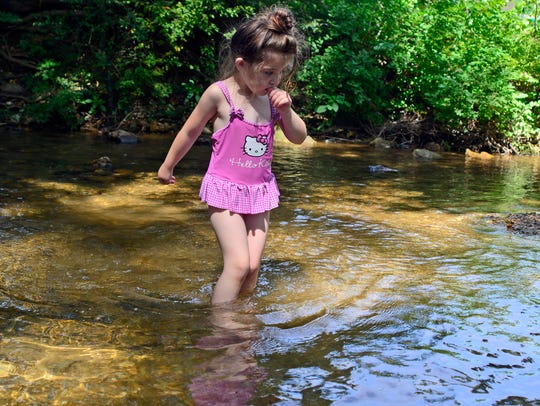 Natalia Sweitzer, 3, of Springettsbury Township, plays