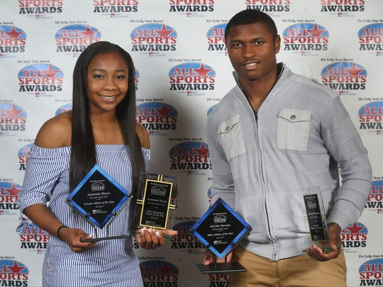 Riverdale's Anastasia Hayes (left) and Oakland's JaCoby Stevens were named The Daily News Journal's Athletes of the Year for 2016-17.