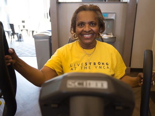 Claire Johnson of Middletown during her LIVESTRONG at the YMCA workout.