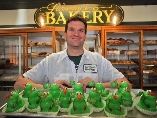 Jim Sweeney  owner of Sweeney's Bakery offers up some special St Patrick's Day in 2005. Sweeney announced the 60-year-old bakery is closing in June.
