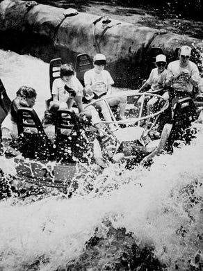 1981 One of the first rafts to travel the Roaring Rapids