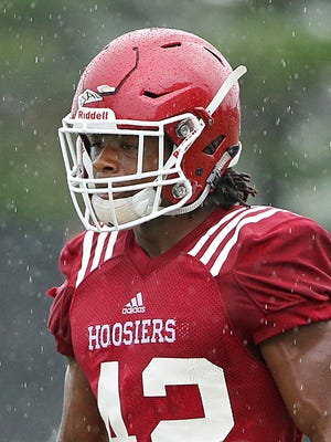 Marcelino Ball (42) waits for a play to begin during Indiana University football practice at John Mellencamp Pavilion, Bloomington, Ind., Monday, August 15, 2016.
