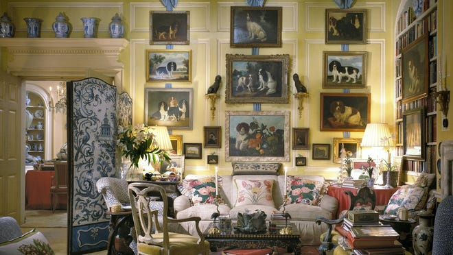 Mario Buatta's living room in his New York apartment is a good example of his updated English country house style. Nearly 1,000 objects from the late interior designer's personal collection will be auctioned Jan. 23-24 at Sotheby's in New York.