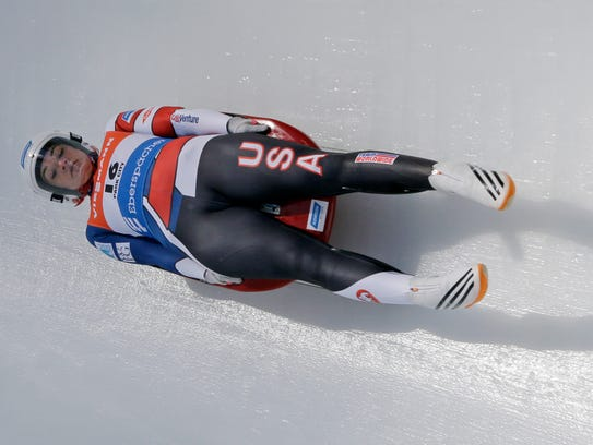 Glen Rock's Summer Britcher is seen here during a World Cup women's singles sprint luge race earlier this year in Latvia. Britcher placed third in the overall World Cup standings and became the racer with the most World Cup victories in American history along the way. Britcher  will now take the momentum from a strong World Cup season into the 2018 Winter Olympics in Pyeongchang, South Korea. AP FILE PHOTO
