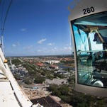 "Raymond ""Paul"" Lacrouts operates one of the cranes while working on the new Golisano Children's Hospital of Southwest Florida."