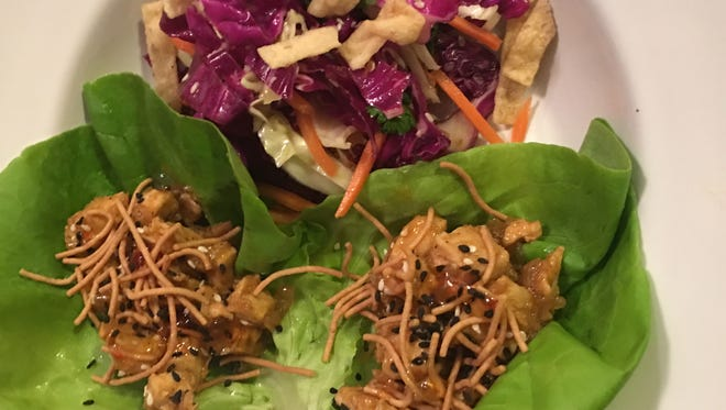 Chicken lettuce wraps, fried rice and Asian slaw.