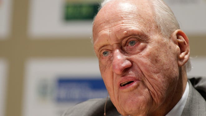 FILE - In this Nov. 22, 2010 file photo, former FIFA President Joao Havelange gives an interview at the Soccerex Global Convention in Rio de Janeiro, Brazil. On Tuesday, Aug. 16, 2016, a Brazilian hospital announced that Havelange has died in Brazil.