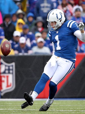Indianapolis Colts Pat McAfee kicks off the ball in the second quarter of their game Sunday, September 13, 2015, afternoon at Ralph Wilson Stadium in Orchard Park NY.
