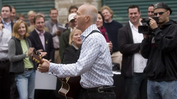 Ben LeRoy of The Snap sings during the groundbreaking of World Cafe Live at the Queen in Wilmington in 2009.