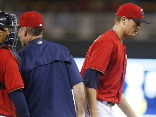 Minnesota Twins pitcher Kyle Gibson leaves the mound