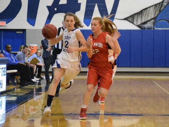Fort Defiance's Faith Farley, left, is guarded by Riverheads'