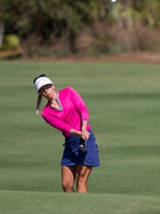 LPGA Tour pro Pernilla Lindberg during the third round of the CME Group Tour Championship at Tibur—n Golf Club Saturday, Nov. 18, 2017 in Naples.
