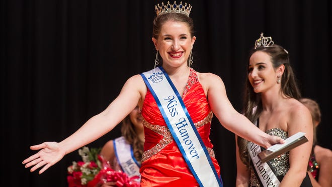 Marley Bradner reacts after she is crowned Miss Hanover Area at the 49th annual Miss Hanover Area Pageant at New Oxford High School Monday, Oct. 23, 2017.