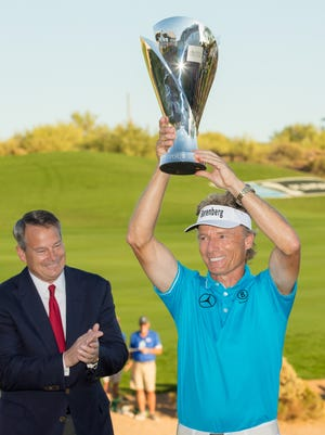 Bernhard Langer of Germany poses with the Charles Schwab Cup following the final round of the Charles Schwab Cup Championship on the Cochise Course at Desert Mountain on November 13, 2016 in Scottsdale, Arizona.