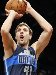 Dallas Mavericks forward Dirk Nowitzki (41) was the