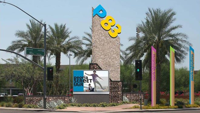 A rendering of the monument signs that have been installed in Peoria's P83 district.