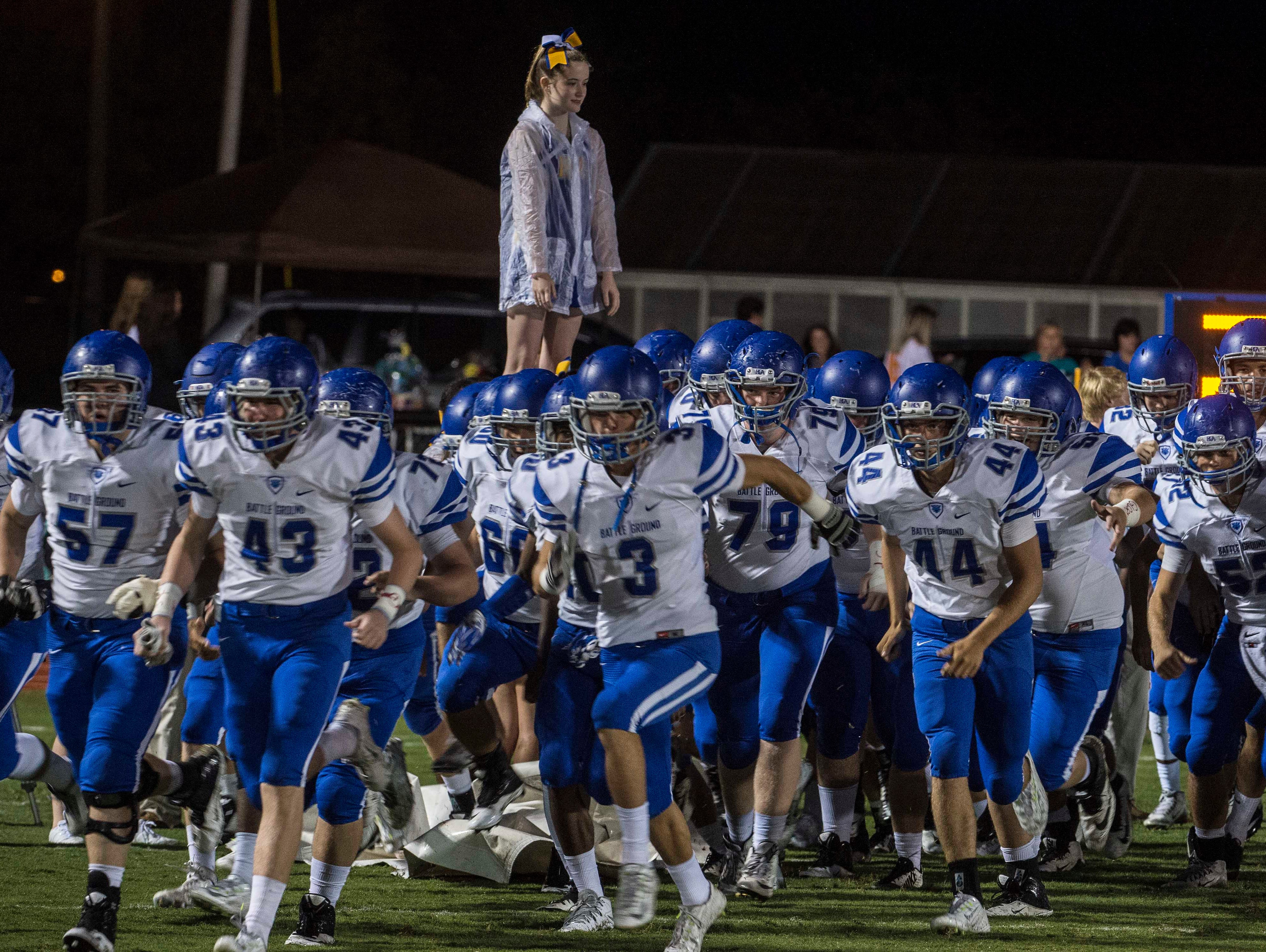 BGA take the field with their game at Page High School on Saturday Sept. 26, 2015, in Franklin in Tenn.