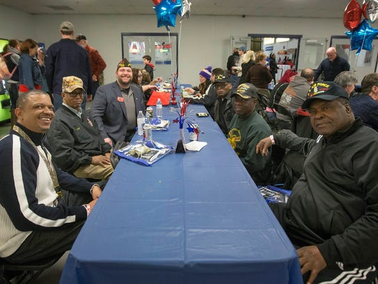 A reception for military members and their families preceded the March 23 game between Team USA and the Chicago Steel.