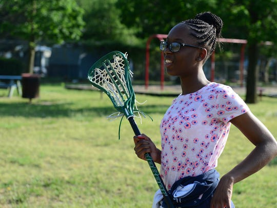 Sahnyi Parsons, 11, during practice on Tuesday, May