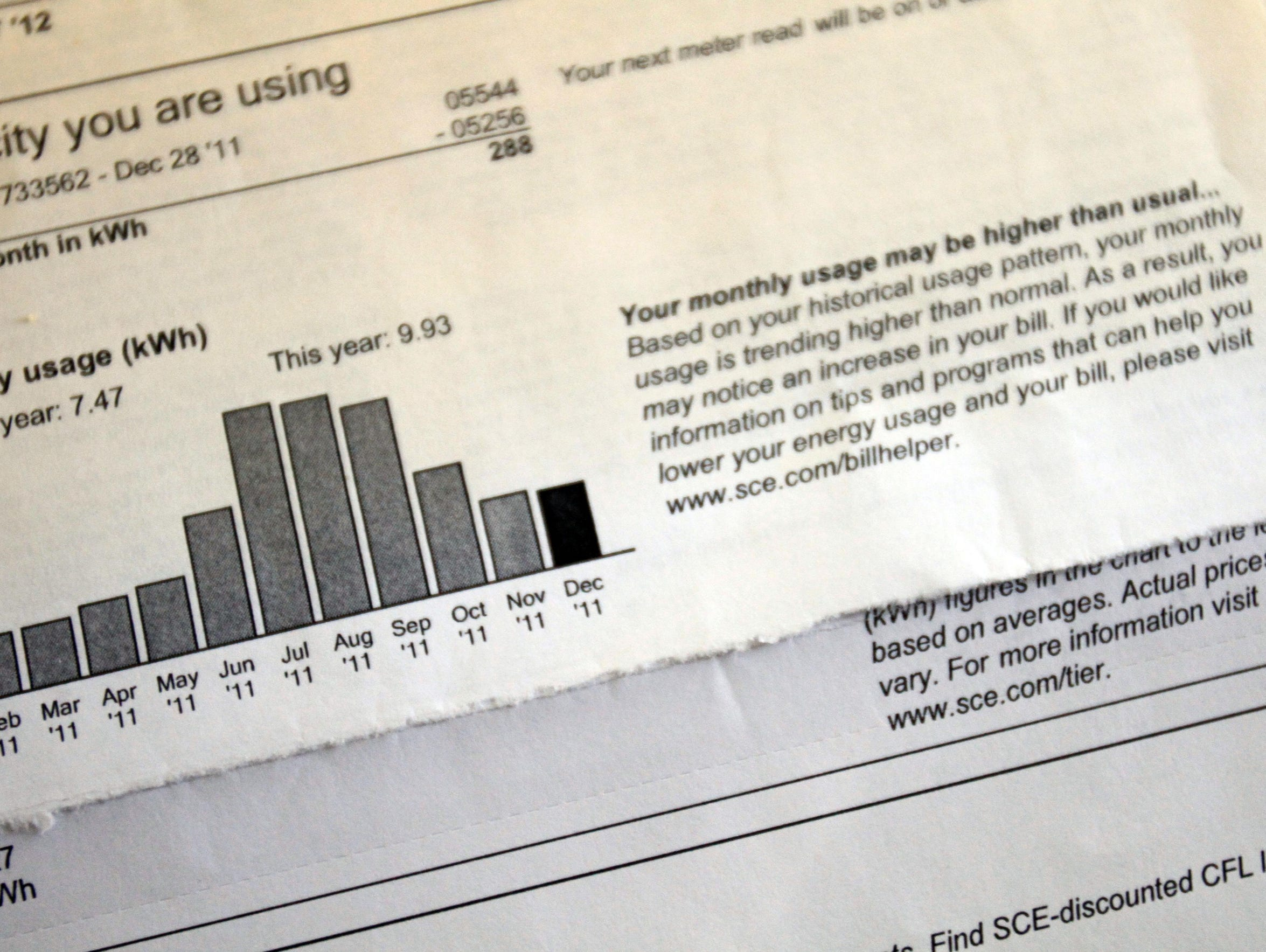 The electricity bill of a Rancho Mirage, California
