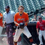 Brother Rice sophomore Reese Trahey reacts after being thrown out at home plate on a close play which ended the decisive five-run fourth inning in Thursday's Catholic League championship game at Comerica Park. The Warriors defeated St. Mary's, 5-1.