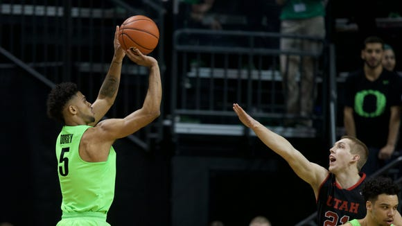 Feb 16, 2017; Eugene, OR, USA; Oregon Ducks guard Tyler Dorsey (5) shoots the ball in the first half against the Utah Utes at Matthew Knight Arena. Mandatory Credit: Scott Olmos-USA TODAY Sports